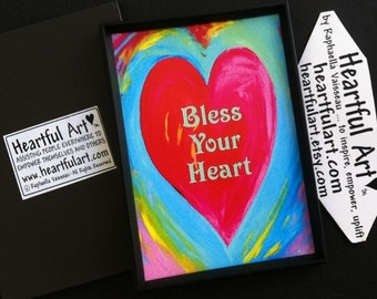 BLESS YOUR HEART Magnet Inspirational Quote Motivational Print Spiritual Meditation Positive Thinking Heartful Art by Raphaella Vaisseau