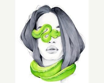 Python blindfolded print, Python Art Print, Fashion, Art, Woman face, Contemporary  Art, Wall Art