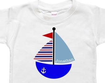 Personalized Baby Bodysuit - Toddler Shirt Tshirt - Baby Shower Gift - Sailboat Sailing Boat