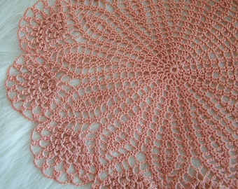 Crochet pink round lace doily / Ready to be shipped