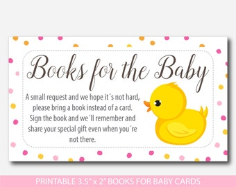 Ducky Bring a book instead of a card inserts, Duck baby shower books for the baby cards, Rubber duck book request inserts, BD1-14