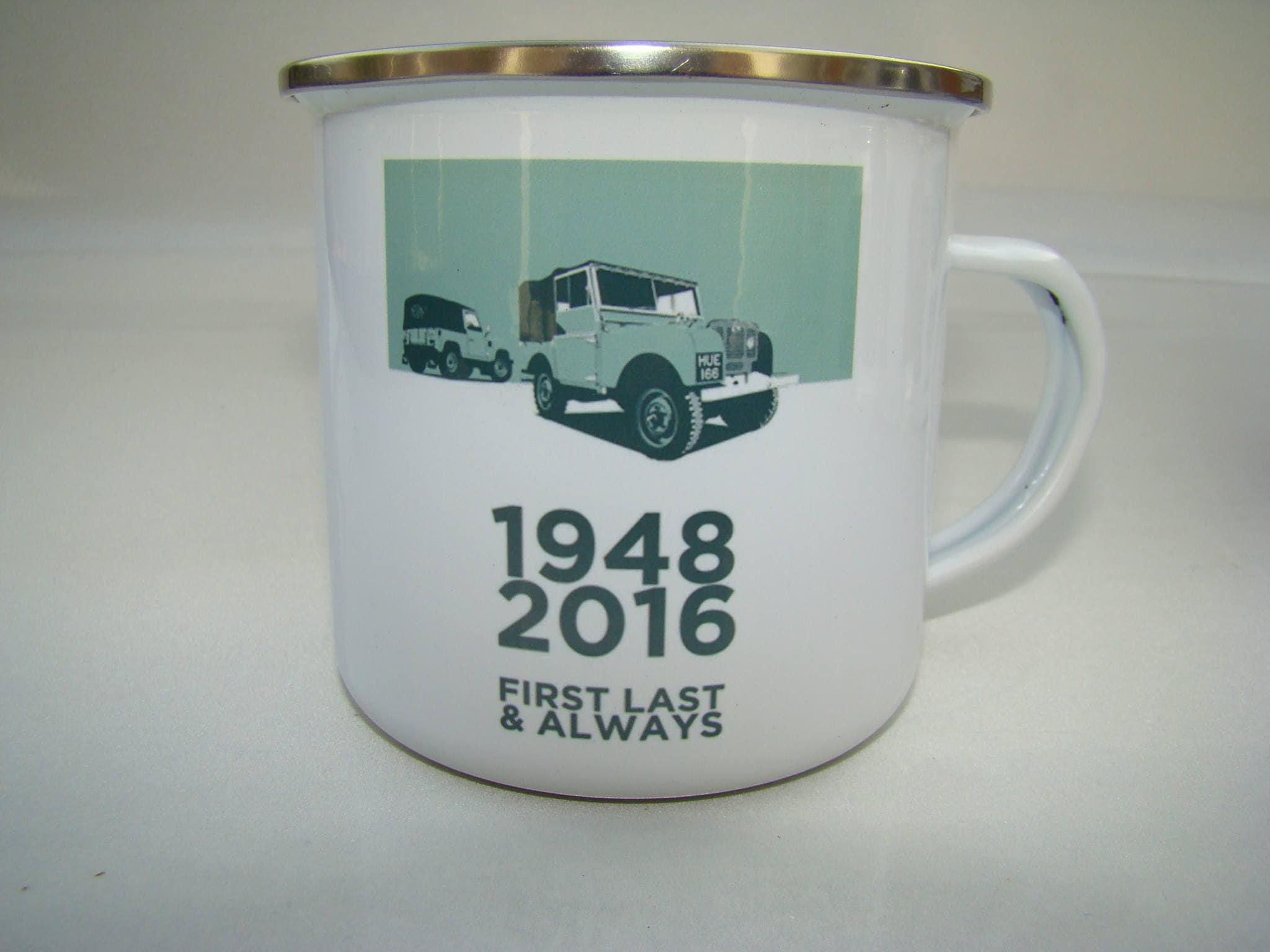 Land-Rover Retro Emaille Becher Jahrgang Geschichte von Land