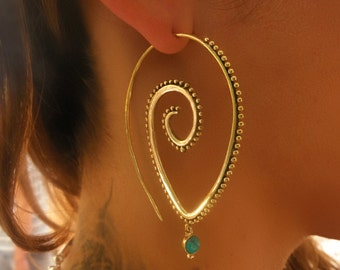 Brass Earrings - Brass Spiral Earrings - Gypsy Earrings - Tribal Earrings - Ethnic Earrings - Indian Earrings - Gemstone Earrings  (EB47)