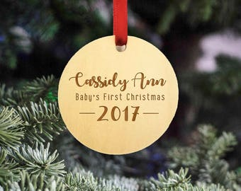 Baby's First Christmas - Personalized Wooden Christmas Ornament - Baby Name - 2017 - Rustic Ornament - Christmas Ornament