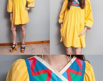 Vintage 1970's/1980's | Bright Yellow | Tent | Mini | 100% Cotton | Empire Waist | Dress | M