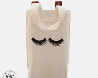 Eye Lashes, Double Wine, Canvas Tote, Wine Bag, Wine Tote, Wine Party, Eyelash, Mascara, Eyelashes, Double Wine Bag, Wine Carrier, Double