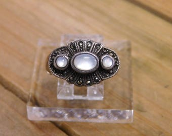 Sterling Silver Multi-Stone Mother of Pearl Ring