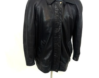 Vintage 1980's Black Leather Jacket with shoulder pads