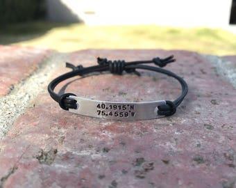 Leather bar bracelet, name bracelet, monogram, coordinates, latitude longitude, nugold brass, personalized, bridesmaid gift, adjustable