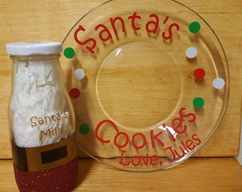 Personalized Santa Milk and Cookies Set