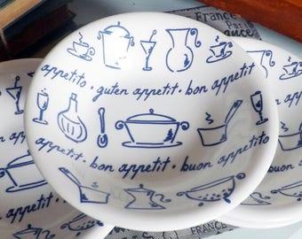 Vintage (1980s) La Primula | Adamo bon appetit | guten appetit | Buon Appetito pasta, soup, salad or cereal bowl. Made in Italy.