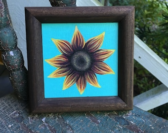 Framed Sunflower Painting - 4 x 4 in