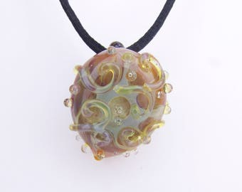 Boro Pendant, Heady Pendant, Handmade Borosilicate glass, Lampwork Necklace, Hand Blown Glass, Third Anniversary Present, Scroll Bead