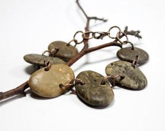 Ferronnerie, rivière Pierre bijoux - grande plage de galets Bracelet - Woodland, rustique bijoux fait à la main par Allybeans de cuivre