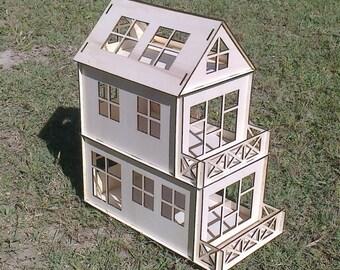 Wooden Dollhouse Plywood Kit Type C