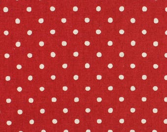 Linen Mix Polka Dot fabric from Sevenberry in red Fat Quarter