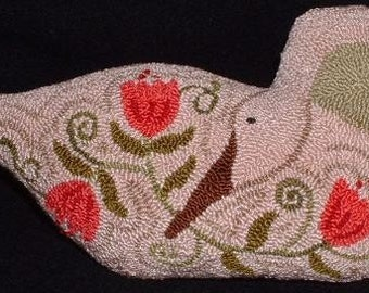 Needle Punch Pillow - Primitive Goose and Tulips