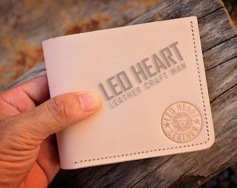 Handmade Natural Vegetable Tanned Wallet, Natural Veg tan Bi-fold Wallet, Personalized Men's Leather Bi-fold Wallet, Minimalist, Handcrafted