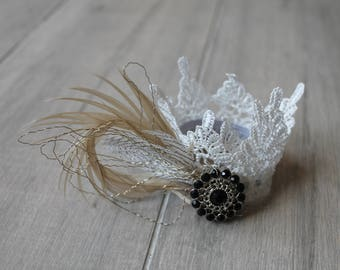 Flower girl lace and feather Gatsby corsage bracelet