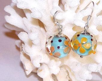 """dark yellow """"flowers"""" glass earrings, 925 sterling silver"""