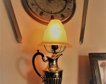 VICTORIAN LAMP / Victorian pitcher lamp / Metal Britannia lamp / Glass lampshade / Vintage lamp / Antique lamp