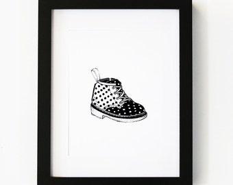 Baby Dr Martins, Illustration Kids Art Print, Kids Room decor, Nursery, Baby, Wall Art, Poster