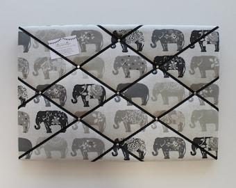 Pin Board, Elephant Fabric, Fabric Noticeboard, Elephant Gifts, Grey Noticeboard, Memo Board, Ribbon Noticeboard, Kitchen Noticeboard