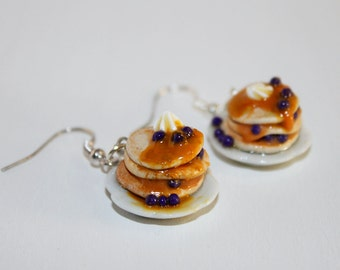 Blueberry Pancake Earrings - Food Jewelry - Miniature food