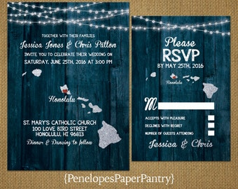 Hawaii Wedding Invitation,Hawaiian Islands,Destination Hawaii Wedding,Rustic,Blue Wood,Glitter Print,Strands of Lights,Opt RSVP,Customizable
