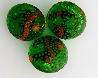 Vintage Diminutive Green Pebble Glass Shank Buttons/Sewing Notions