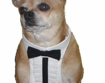Dog Tuxedo, Chihuahua Clothes, Dog Wedding Attire, Pet Formal Wear, Boy Dog Clothes,  Black and White Wedding Dog Tuxedo.