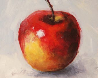 Still life with apple, original fruit painting, red apple