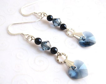 Blue Heart Drop Earrings, Crystal Heart Earrings in Denim Blue by Swarovski Elements, Fashion Jewelry