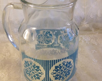 Vintage Turquoise and White Glass Pitcher