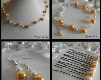 Set of 4 wedding pieces beads twisted yellow gold and white