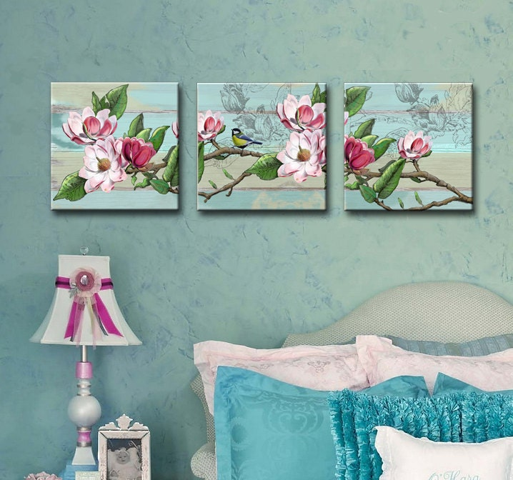 Shabby Chic Set Of 3 Canvas Art 12x12 Girls Room Wall