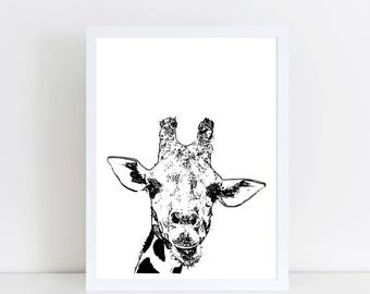 Giraffe Monochrome print - Giraffe Art - Giraffe Nursery - Black and white Giraffe Print - Giraffe Nursery Decor - Giraffe Decor - Modern