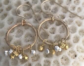 Handmade hoop earrings, Silver and goldfill hoops, Hammered goldfill hoops