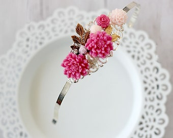 Floral Hair Jewelry - Pink Flower Headband - Bridesmaid Headband - Prom Headband - Bridal Party Gift-  Rustic Wedding Headband - Romantic