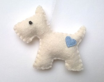 Scottie Felt dog ornament - handmande terrier animals  - puppy nursery decoration - Christmas home decor - Baby shower - eco friendly