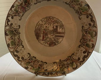 A plate Digoin and Sarreguemines Chinese style