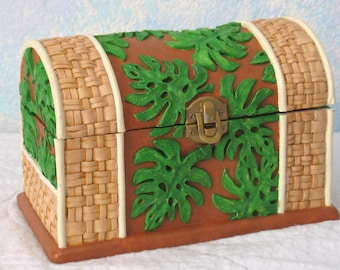 Handpainted Treasure Chest/Jewelry Box, Ceramic, Leaves and Wicker