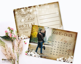 Rustic Save the Date Postcard Printable Calendar Photo Save the Date Rustic Wedding Floral Invitation String Lights Wedding Country Invite