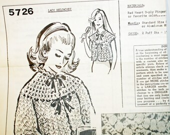 "Vintage Lacy Bedjacket 5726 Crochet Pattern, With or Without Sleeves, Size Medium 32"" to 34"", Large 36"" to 38"""