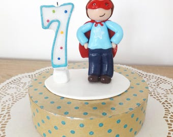 Cake topper / Figurine Marius the Super Hero birthday