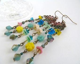Glass Flower Dangle Earrings, Chandelier Earrings, Garden Jewelry, Flower Bead Dangles, Long Earrings, Bohemian Earrings, Artisan Jewelry