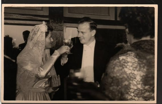Raising a Glass + Mimi and Andries + Vintage Wedding Party Photo Postcard