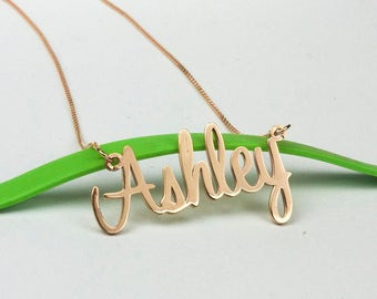 Name Necklace Rose Gold, Personalized Name Plate Necklace, Rose Gold Name Jewelry, Custom Necklace, Personalized Jewelry, Rose Gold Necklace