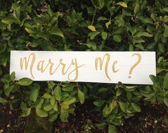 White Gold Marry Me Sign / White Gold Proposal Sign / White Marry Me / Proposal Sign / Marry Me / Cursive Proposal Sign / Proposal Decor