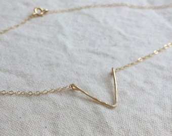 V for victory (necklace) - 14k Gold Filled chevron necklace, hand forged, hammered V charm